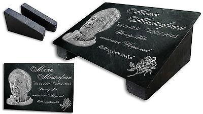 GRABPLATTE+ DOPPELSTÜTZE mit Ihrem Foto Grabstein Liegestein Gedenkplatte Om1