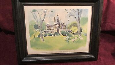 Vintage Spring 1982 Beringer Rhinehouse Wine Bar Saloon Tavern Watercolor Print
