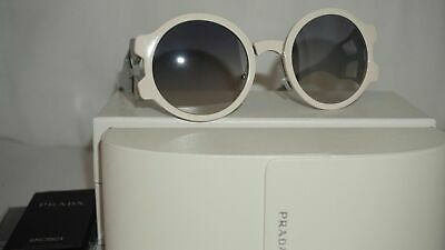 PRADA Sunglasses Authentic New Round Ivory Light Blue PR13US YEB5RO 54 140