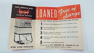 NOS Vintage FRENCH BOY POPCORN WARMER DISPLAY Brochure Pamphlet Restaurant Bar
