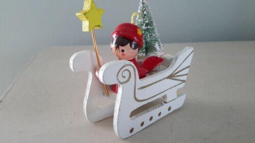 """Vintage Wooden Angel on Sled Bottle Brush Tree Christmas Ornament 2.5"""" long"""