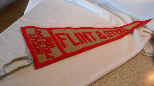 BSA Pennant Boy Scout Field Day 1928 FLINT & STEEL Authentic Tags Wool Felt (AeB