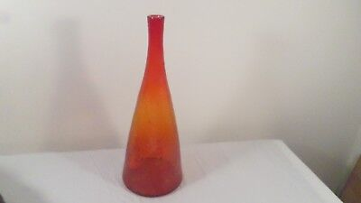"16 1/2"" Vintage Amberina Crackle Glass Vase Wine Bottle"