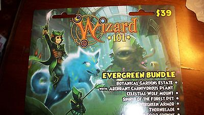 new Wizard 101 EVERGREEN Pack off Game Card CROWNS Botanical Gardens Estate House