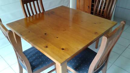 Dining Suite. Timber. Square Table (1.1mx1.1m). Four chairs.