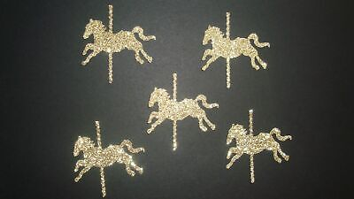 30 GOLD SILVER GLITTER CAROUSEL HORSE DIE CUTS PUNCHES CONFETTI BIRTHDAY (Horse Dice)