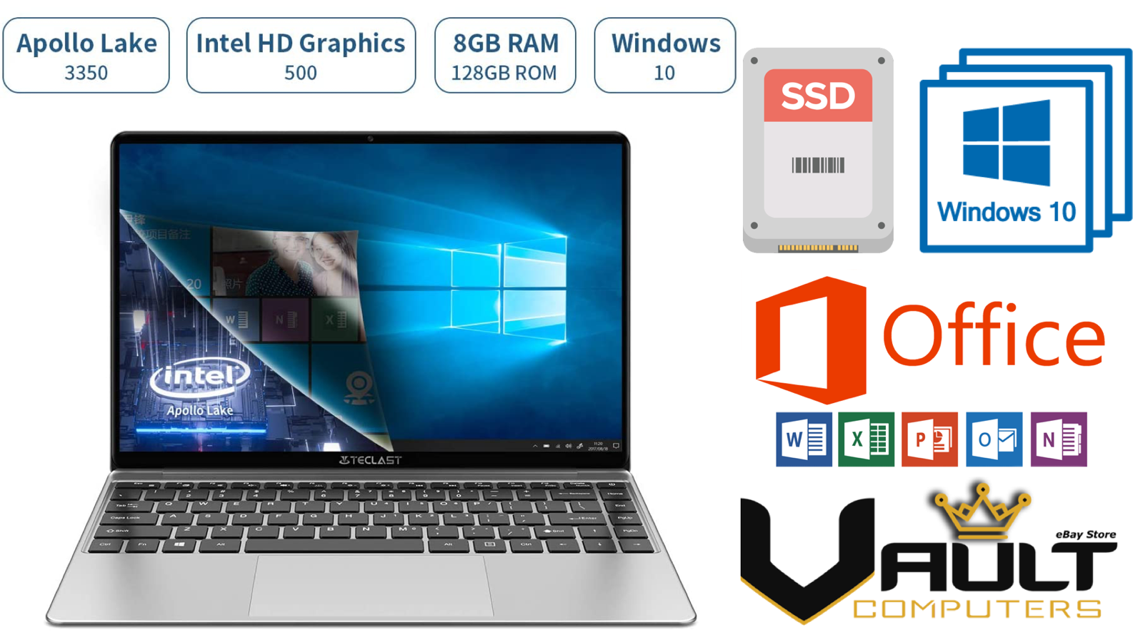 Laptop Windows - HD Laptop Dual Core, 8GB RAM, 128GB SSD, Windows 10 Home, Office 2019