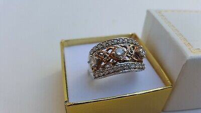 Beautiful Ladies Fine Estate Jewelry HSN Sterling Silver CZ Cluster Ring Sz 8.75