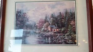 Peaceful Hideaway Nicky Boehme Beautiful Framed & Matted 14  x 10 Lithograph