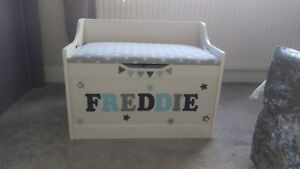 Personalised wooden toy box with cushioned seat and soft close lid