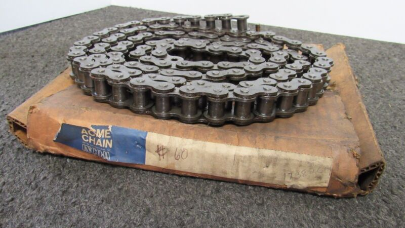 """ACME CHAINS 60 RIV., 7FT. 31/32IN. OAL, 3/4"""" PITCH ROLLER CHAIN"""