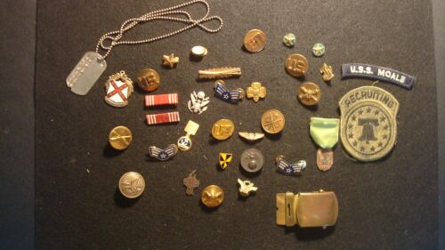 HUGE Military Lot - Pins - Patches - Medals - Ribbons - Buckle - Dog Tag - Star