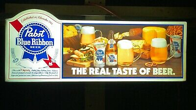 1982 Pabst Blue Ribbon Beer Lighted Sign The Real Taste of Beer