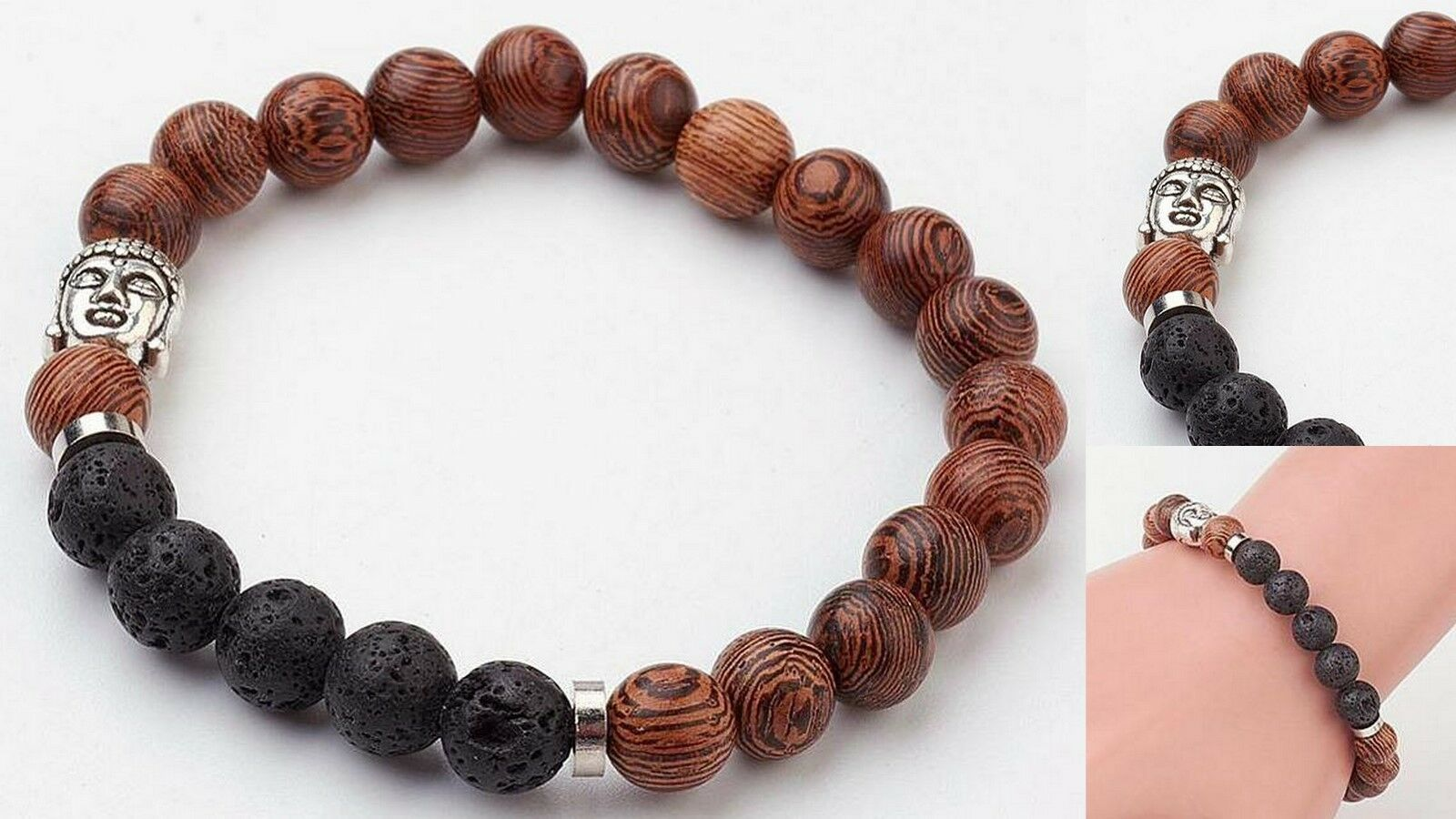 3ea7ce603ebee Buddha Natural Lava Bead Wood Aromatherapy Diffuser Scent Bracelet  Essential Oil