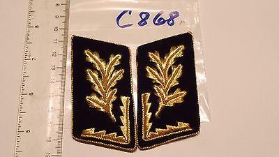 Bergbau Kragenspiegel 6 Blätter golden auf schwarz schräge Form 1 Paar (c868-)