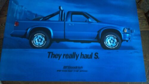 BF GOODRICH SIGN BLUE CHEVY S-10 PICK UP TRUCK POSTER ORIGINAL GAS and OIL
