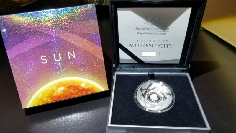 2019 1 Oz PROOF SILVER $5 SUN - DOMED EARTH AND BEYOND COIN - Australian Mint !