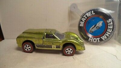 Vintage Hot Wheels Red Lines USA 1968 Ford J-Car [Lime] w/button