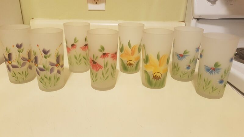 8 Blenko West Virginia Frosted Glass, Hand Painted Flowers Glasses Vintage