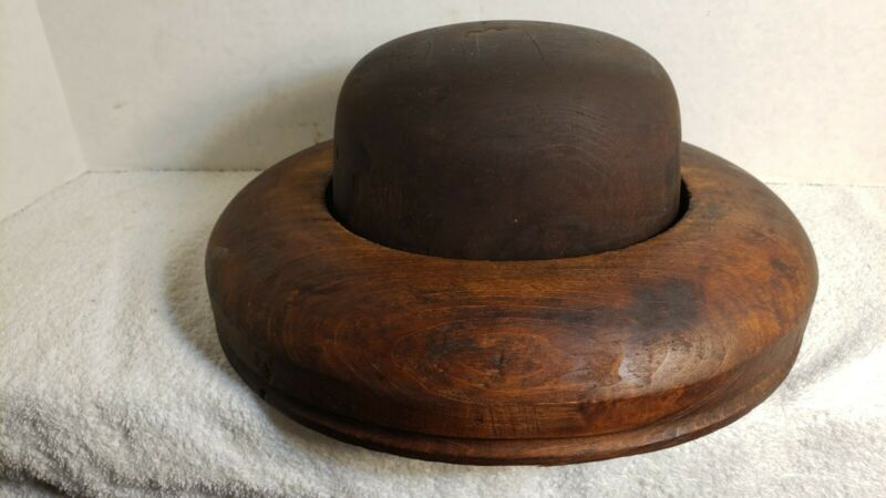 Antique Or Vintage Hoffman Millinery 2 Piece Wooden Block Hat Form (Signed)