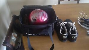 Bowling ball and mens size 10.5 bowling shoes