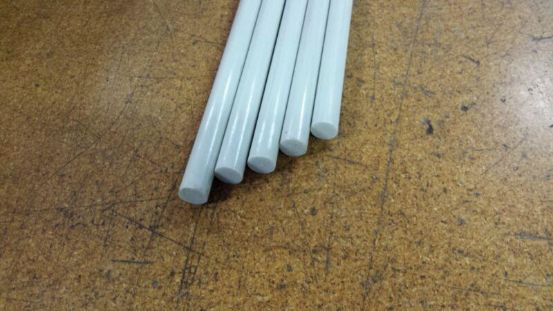 "Fiberglass Rods, 11/16"" Diameter, 49"" Long, Pultruded, White, 5 pieces"