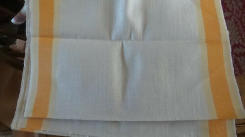 """Antique Linen Kitchen Hand Towel Fabric SHADES OF YELLOW STRIPES 23""""/16"""" Wide"""
