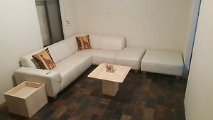 Genuine leather, off white corner couch/sofa + ottoman RRP $4900 Craigie Joondalup Area Preview