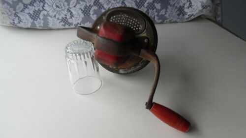 VINTAGE HAND BEATER LID W/ SCREW TOP- RED WOODEN HANDLE FOR PARTS