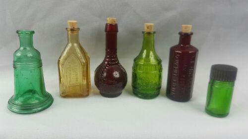Set of 6 Vintage Wheaton Miniature Claw Barrel Medicine Glass Bottles Lot