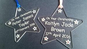 Hand made acrylic engraved Christening star keepsake gift personalised