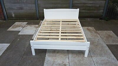 White double wooden bed frame