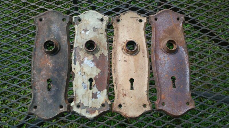 Vintage Victorian Art Deco Door Plate Hardware Set of 4