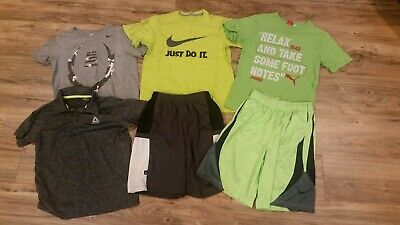 - Boys' Medium M 6 Piece Athletic Lot T-shirts Shorts Nike Reebok Puma