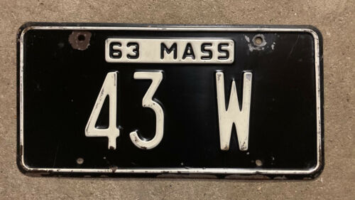 Massachusetts 1963 license plate 43 W low number