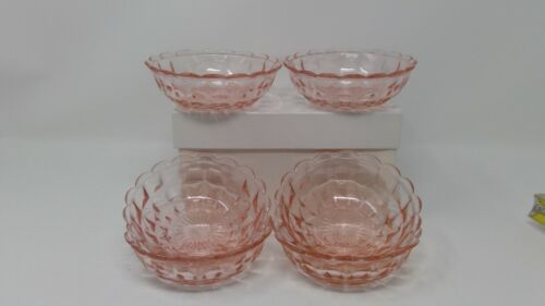 "Set of Six (6) PINK Depression Glass Jeannette Windsor 4 1/2"" Fruit Bowls"
