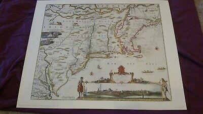 New Belgium New England Virginia N. Visscher prior 1682 Penn Prints reproduction