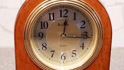 Bulova Brass/Wood Quartz Desk Clock T4 B2220 AR282 German movement!