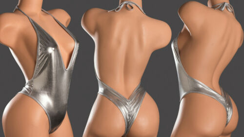 Exotic Sexy Dance Wear 1pc Monokini Silver Lycra Crunchy Back & Matching Thong