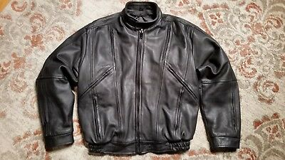 PROTECH APPAREL BLACK LEATHER VENTED MOTORCYCLE JACKET SNAP OUT LINER MEN