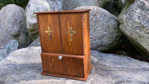 Antique Catholic Last Rites Sick Call Box? Crucifix Oak Wood