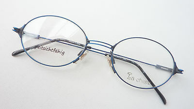 Brands Glasses Blue Metal Trim Oval Frame Unisex La Chiave Frame SIZE M