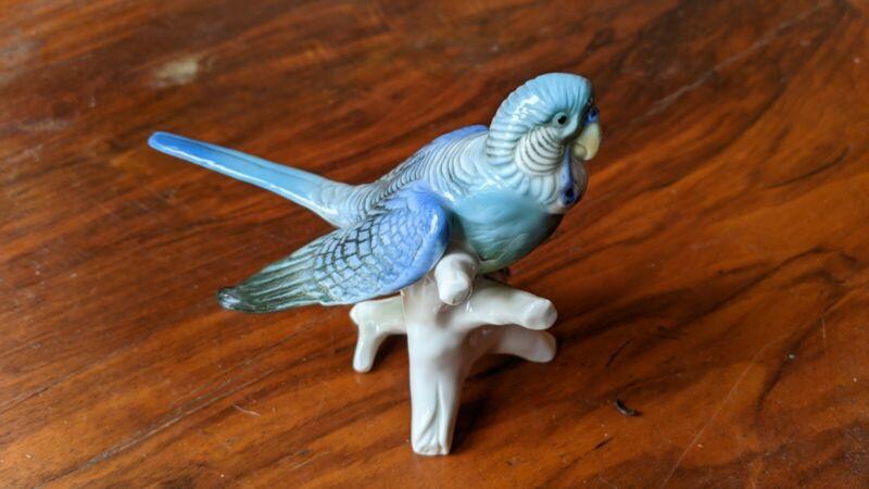 Antique Karl Ens Blue Parakeet Bird Porcelain Budgerigar Germany 1930-1940