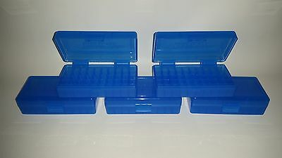 BERRY'S PLASTIC AMMO BOXES (5) BLUE 50 Round 9MM / 380 - FREE SHIPPING