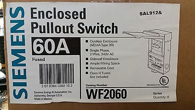 Siemens Enclosed Pullout Switch 60504030 Amp Fused Disconnect Wf2060