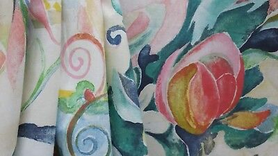 3 YD LOVELY BWA FABRICS ROSE GARDEN MULTI BRIGHT FLORAL COTTON UPHOLSTERY FABRIC