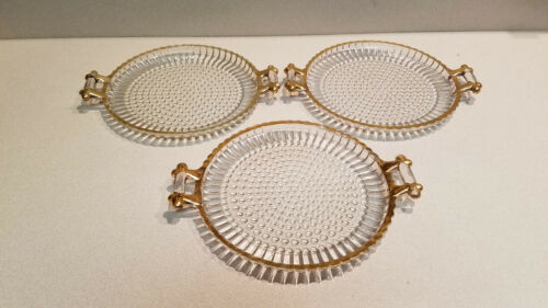 VINTAGE SET OF 3 HOBNAIL GLASS PLATTER PLATES w/HANDLES GOLD APPLY TRIM