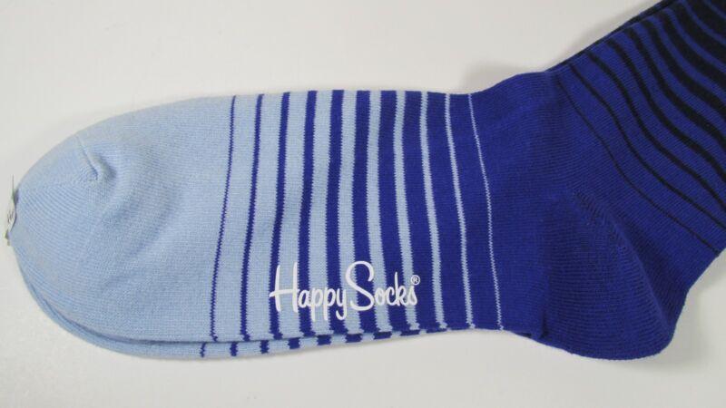 HAPPY SOCKS COMBED COTTON DRESS SOCKS STRIPED BLUE SIZE 10 - 13 NWT
