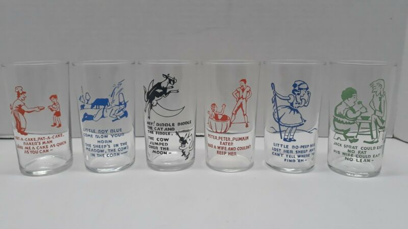"57/1 Vintage Nursery Rhythm juice glasses 4.75"" hey diddle diddle pat a cake ect"