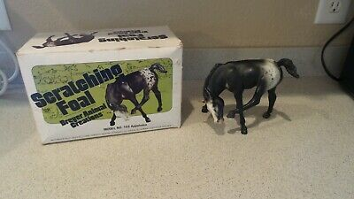 Breyer Traditional VINTAGE Black Blanket Appaloosa Scratching Foal w/ BOX